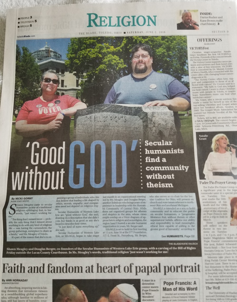 screenshot Front of the Religion section Toledo Blade 06/02/2018